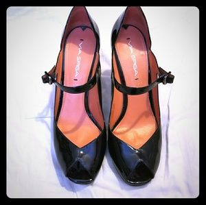 Via Spiga Patent Leather Peep Toe Heels